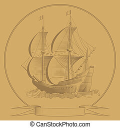 sailing ship graphic style
