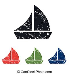 Sailing ship grunge icon set - Colored grunge icon set with...