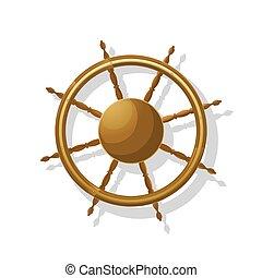 Sailing ship helm vector