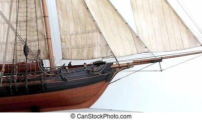 Sailing ship - historic sailing ship camera in motion close...