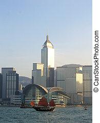 Sailing Ship & Hong Kong Convention and Exhibition Center