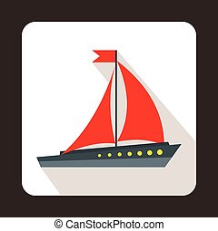 Sailing ship icon, flat style