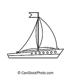 Sailing ship icon, outline style