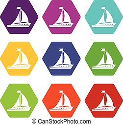 Sailing ship icon set color hexahedron