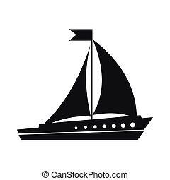 Sailing ship icon, simple style