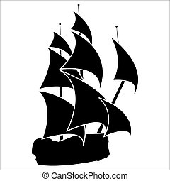 sailing ship - black silhouette of sailing ship on white...