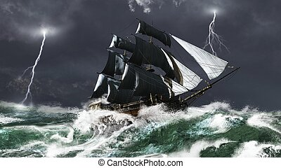 Sailing Ship in a Lightning Storm - Tall ship sailing in...