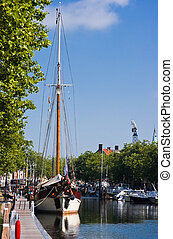 Sailing ship in harbour