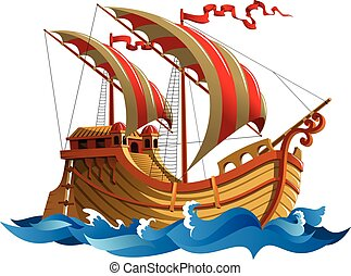 Sailing ship in oceanic waves, vector illustration
