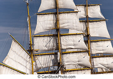 sailing ship in port of kiel / germany