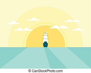 Sailing ship in the background of the sun in a flat style with a shadow. Sea daylight. Vector illustration