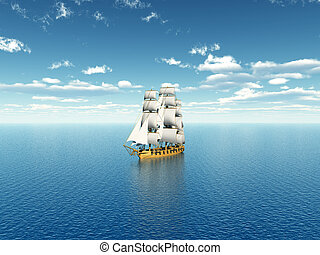 Sailing Ship in the Distance - Computer generated 3D...