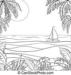 Sailing ship in the sea, contours