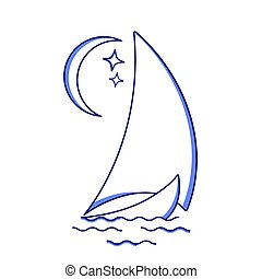 Sailing ship in the waves against the moon icon in line art ...