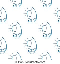 Sailing ship in the waves against the rising sun seamless pattern. Vector icon in line art style. Travel, transportation