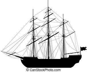 Sailing ship isolated on white background