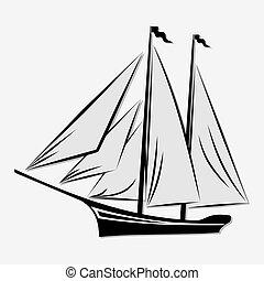 Sailing ship isolated on white background.
