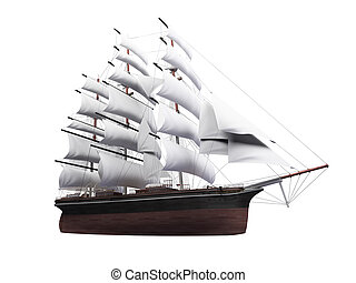 Sailing ship isolated over white - isolated classic boat on...