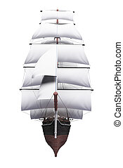Sailing ship isolated over white
