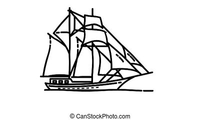 Sailing Ship line icon is one of the Ships icon set. File contains alpha channel. From 2 to 6 seconds - loop.