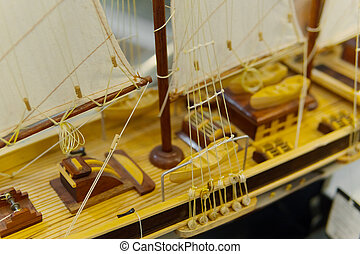 Sailing ship model in souvenir shop, closeup