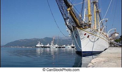 Old wooden sailing ship, sea
