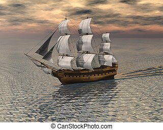 Sailing Ship on a calm ocean - Sailing ship on a calm ocean...
