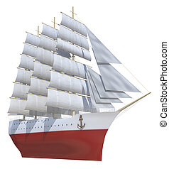 sailing ship on a white background