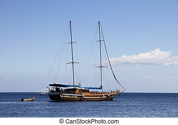sailing ship on Mediterranean sea