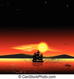 Sailing ship on the sea at sunset s