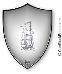 Sailing ship on the shield. Vector format