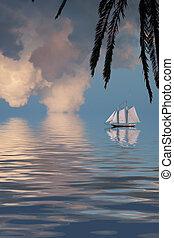 Sailing Ship on tropical sea