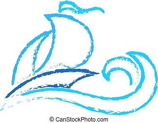 Sailing ship on wave