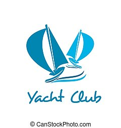 Sailing ship or boat icon for yacht club design