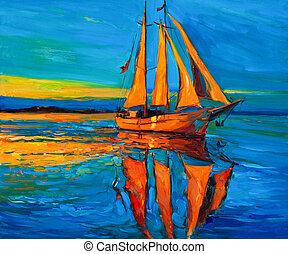 Sailing ship - Original oil painting of sailing ship and sea...