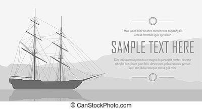 Sailing ship over huge mountains