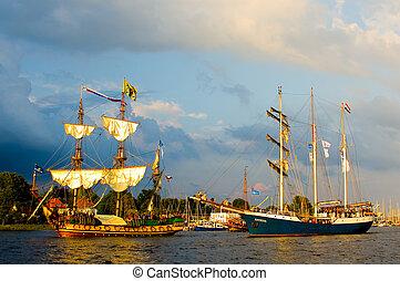 sailing ship - hanse sail of rostock