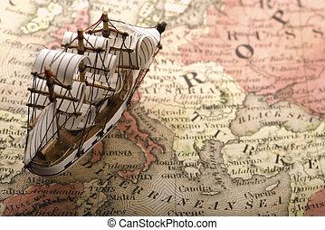 sailing ship - Sailing ship on golden map