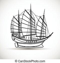 Sailing ship - sailing ships black line silhouettes,Vector...