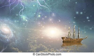 Sailing ship sails through the stars