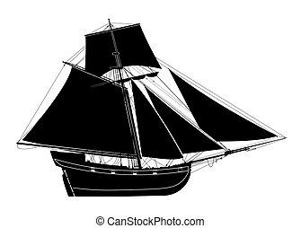 Sailing ship. Seventeenth-century bermuda sloop. Pirate...