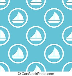 Sailing ship sign blue pattern