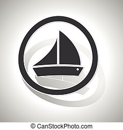 Sailing ship sign sticker, curved