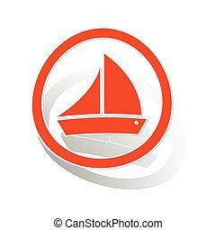 Sailing ship sign sticker, orange