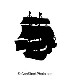 Sailing ship silhouette isolated on white background