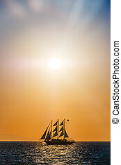 Sailing ship silhouette in sunset on the sea - Sailing ship...