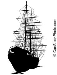 Sailing ship - Silhouette of sailing ship on white...