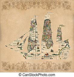 Sailing ship silhouette over antique map - retro postcard on...