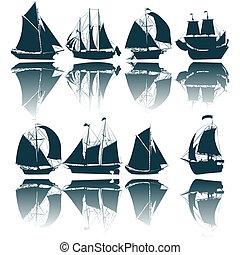 Sailing ship silhouettes