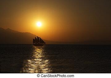 Sailing Ship - Schooner Silhouette at Beautiful Sunrise....